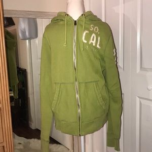 Hollister distressed large zip up hoodie spell out